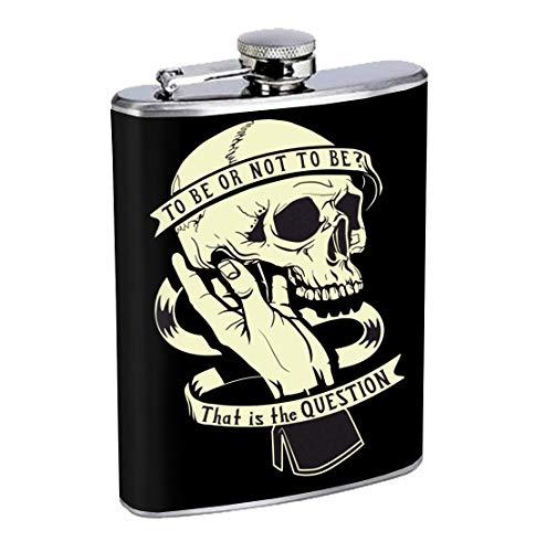 Frasco para licor,To Be Or Not To Be Hamlet Skull Shakespeare 8oz Stainless Steel Flask Drinking Whiskey