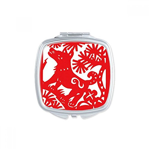 Paper-cut Dog Animal China Zodiac Square Mirror Portable Compact Pocket Makeup Double Sided Glass