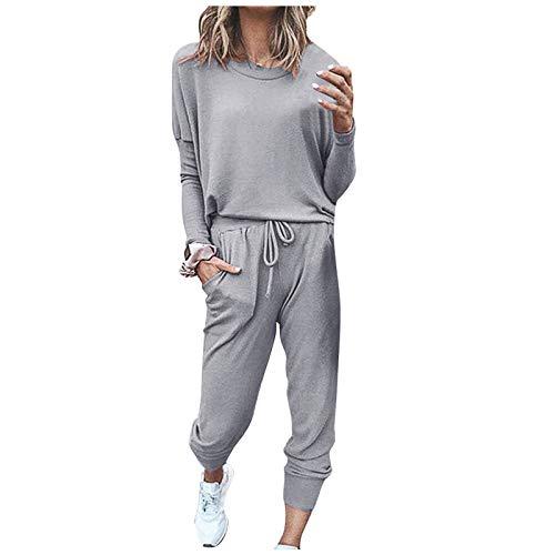 Damen Freizeitanzug Sportanzug Sweatshirt + Hose Sportswear 2 Stück Bekleidungsset Sport Jogginganzug, Zweiteilige Solide Lässige Damenhose für Damen-Sets