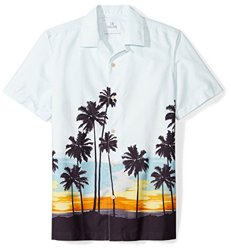 28 Palms Amazon Brand Camisa Hawaiana de Ajuste estándar para Hombre, 100% algodón, Sunset Scenic Light…