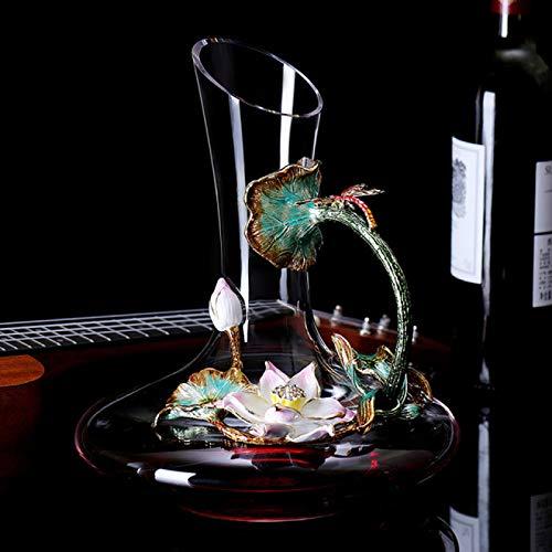 RONGXIANMA Wine Glass 5-Piece Household Enamel Wine Glass Decanter Set, Lotus Wine Glass, Champagne Glass