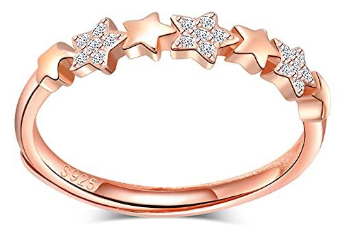 CPSLOVE Anillo estrella de mujer niña, de plata 925, anillo estrella, oro rosa, anillo de cola, circón con incrustaciones, anillo abierto, anillo de bodas, Circunferencia de dedo adecuada:48,5-57mm