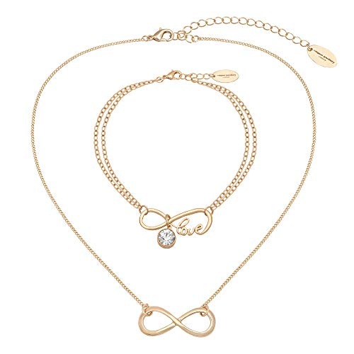 Caramel Jewellery London Collana e Bracciale Infinity Friendship Set in Oro 18ct Placcato. Infinity Friendship Collana con Una per L'Amore di Sparkle Infinity Bracciale di Amicizia per Le Donne