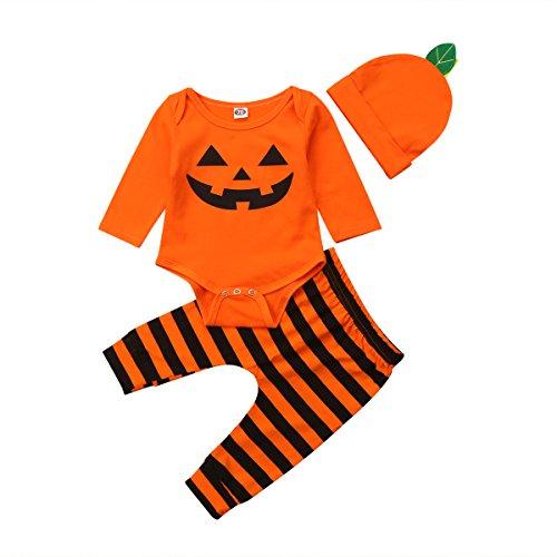MINASAN Halloween Baby Jungen Mädchen Outfits Kürbis Kostüm Orange Weste Top + Hut + Hallenschuhe 3-teiliges Kleidungsset (Orange8, 6-12 Monate)