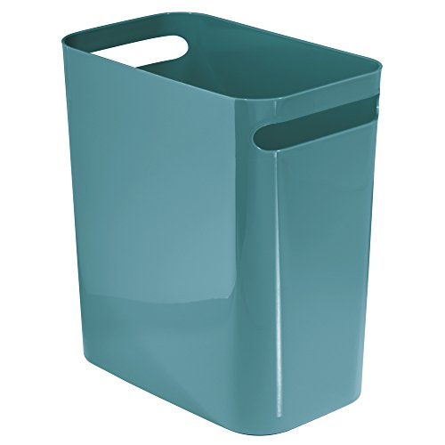 iDesign Una Papierkorb mit Griffen, Abfalleimer aus Kunststoff für Büro, Küche oder Bad, türkis