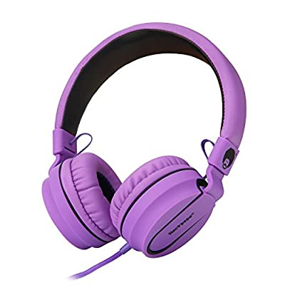 Rockpapa 952 Stereo Foldable Headphones On Ear, Adjustable Headband, with Microphone for Kids Childrens Adults, Tablet Computer Mobile CD/DVD MP3/4 Black Purple from Rockpapa Inc