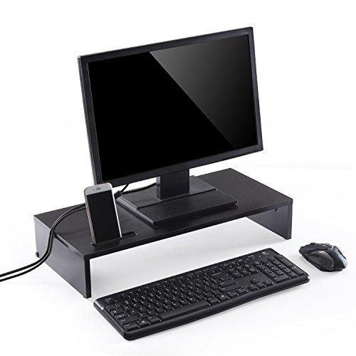 TTAP Monitorständer mit Smartphone-Halterung, Holz, 540 mm, Schwarz