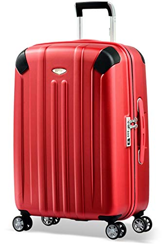 Eminent Valigia Boulder 66cm 71L Valigia media ultra leggera 4 Ruote doppie silenziose Protezione addizionale dei bordi & Lucchetto TSA Rosso