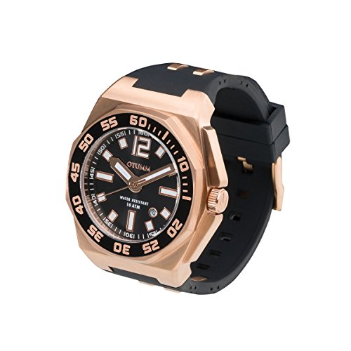 OTUMM Sports Calender 07246 Herren-Armbanduhr XL - 45mm (analog) - Roségold-Schwarz
