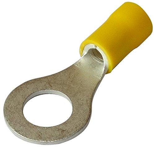 Aerzetix: 10 Kabelschuhe Elektroflachhülsen Auge Öse M8 Ø8,4mm 4-6mm2 isoliert gelb