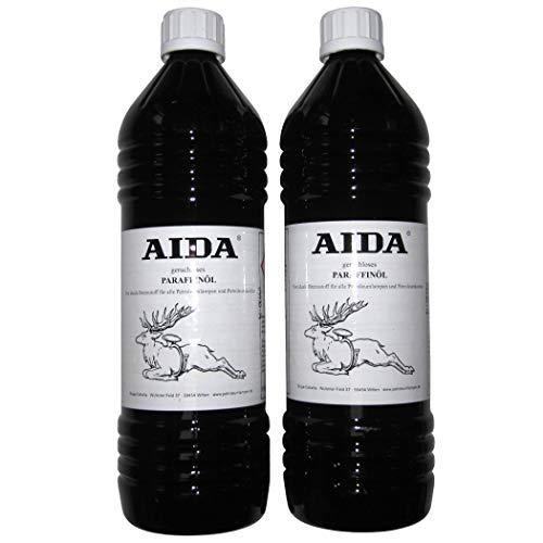 AIDA Petroleum 2 x 1 Liter, hochreines Lampenöl, nahezu geruchlos, hochwertig, für Petroleumlampen und Öllampen