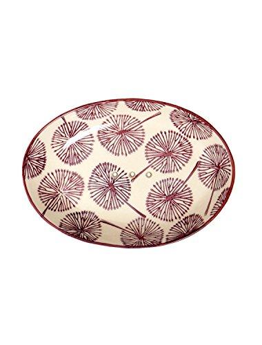 Tranquillo Seifenschale Floral Pusteblume, oval aus handbemalter Keramik mit Löchern für den Wasserablauf 14 x 9,5 x 2 cm
