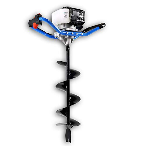 """Landworks Earth Auger Power Head Heavy Duty 3HP 52cc 2 Stroke Gas Engine w/Steel 8""""x30"""" Bit w/Fishtail One Man Post Hole Digger for Planting, Earth Burrowing/Drilling & Fences EPA/CARB Compliant"""
