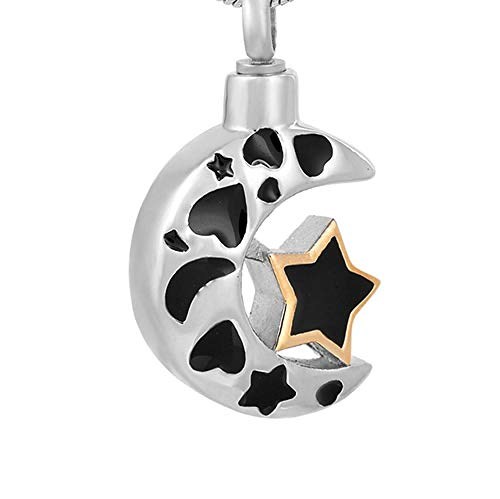 Steel Pendant Memorial Keepsake Moon with Heart Urn Necklace Memorial Jewelry for Ashes Keepsake Stainless steel Cremation Locket