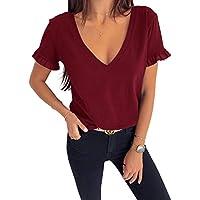 GAMISOTE Women's Ruffle Short Sleeve T-Shirt