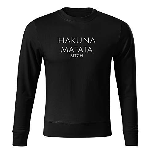 OwnDesigner Hakuna Matata Sweatshirt für Herren und Pullover für Männer Herbst Winter (Sweat-95-S-Schwarz)