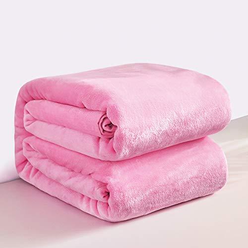 Mantas para Sofa Rosa 150 × 200 cm, RATEL Mantas para Cama de Franela Reversible, Mantas Ligeras de 100% Microfibra - Fácil De Limpiar - Extra Suave Cálido