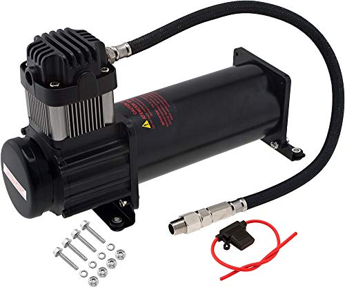 Vixen Horns Heavy Duty Onboard Air Compressor 200 PSI. Universal Replacement for Truck/Car Train Horn/Suspension/Ride/Bag kit/System. Fits All 12v Vehicles Like Semi/Pickup Trucks/Jeep Black VXC8301B
