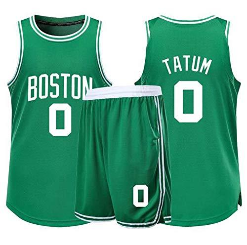 YCJL Maglia da Basket NBA Celtics # 0 Tatum Adulti Top E Pantaloncini per Bambini, Unisex Competizione Uniforme Sportiva, Set di Abbigliamento Abbigliamento Sportivo,B,3XS:121~135cm