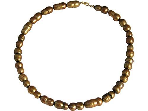 Gemshine Collar en Plata de Ley o chapada en oro de 18k. Perlas cultivadas barrocas Tahiti Bronce Champagne. Joya hecha en Alemania