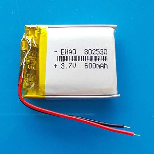 mrwellog 3,7 V 600 mAh 802530 Lipo-Batterie Polymer Lithium Wiederaufladbarer Akku für MP3 GPS DVD Bluetooth-Rekorder E-Book-Kamera