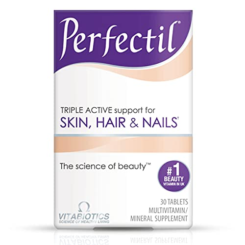Vitabiotics Perfectil Triple-Active Beauty Multivitamin   Skin, Nail, and Hair Vitamins   Hair Health & Growth, Nail Strength, and Skin Support Formula   Vitamin D, Vitamin E, Collagen, Biotin, and More