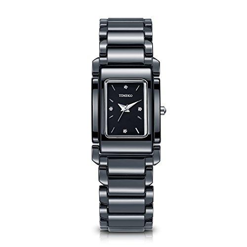 Time100 Orologio donna rettangolare ceramica quarzo nero-bianco#W50356L (Nero)