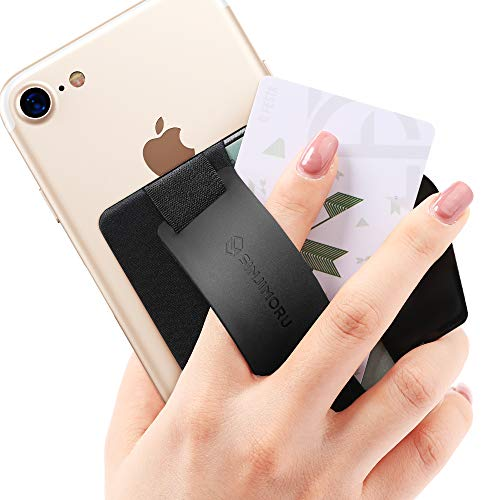 Sinjimoru スマホスタンド カード入れ、落下防止 ハンドストラップ どこでも楽に動画 視聴できるシリコンスマホスタンド、クレジットカード SUICAカードが収納できる 手帳型 カードホルダー。シンジポーチB-GRIP (B-GRIP Silicone, ブラック)