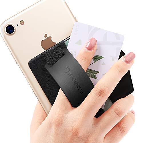 Sinjimoru - Banda sujetadora para móvil - Tarjetero con Soporte para móvil - Cartera Adhesiva para móvil con Banda sujetadora de Silicona Sinji Pouch B-Grip Silicone - Negro