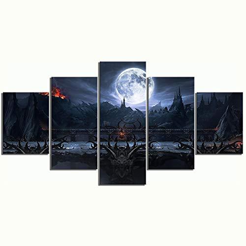 Impresiones sobre Lienzo Juego De 5 Piezas De Mortal Kombat Final Fight Fantasy Wall Art Pinturas Elásticas Imagen HD Cartel De Decoración del Hogar (Tamaño 2) Sin Marco