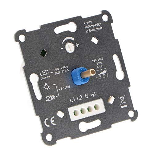 proventa Regulador intensidad luz 2 vías, 5-90 W LED, 5-100 W Hal/Inc, ancho 24mm. Compatible con muchas marcas de marcos interruptores, incluido adaptador. Apto para circuitos conmutados