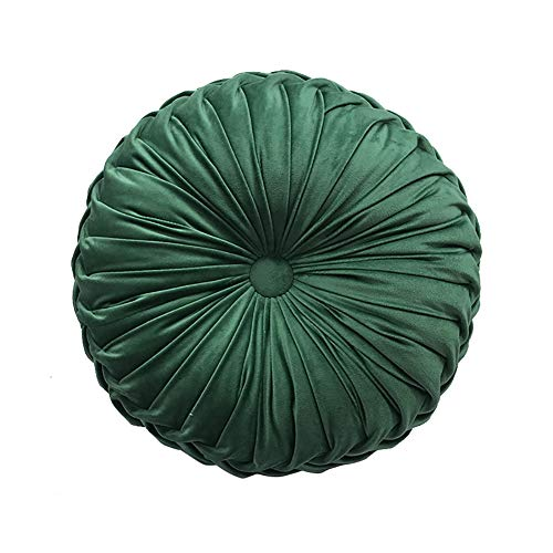 qwqqaq Round Pleated Velvet Chair Cushion,Solid Color Meditation Floor Cushion,Soft Back Cushion Throw Pillow for Home Sofa Bed Decor