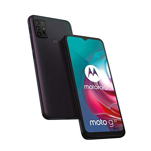 "Motorola moto g30 (6,5""-Display, 64-MP-Kamera, 6/128 GB, 5000 mAh, Dual-SIM, Android 11) Dark Pearl, inkl. Schutzcover [Exklusiv bei Amazon] - 6"