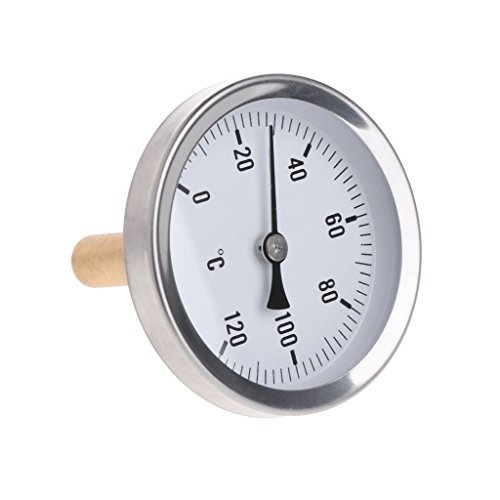 Abnana Termómetro horizontal de 63 mm con esfera de aluminio medidor de temperatura medidor de agua líquida