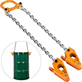 Mophorn Chain Drum Lifter 2000 lbs Load Capacity Barrel Lifting Sling with G80 Lifting Chain Drum Lifter Chain Sling Alloy Steel Frame, Solid Vertical Drum Lifter for Plastic and Metal Drums, Orange
