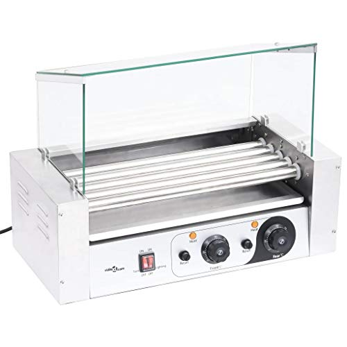 vidaXL Grill à Hot-Dogs à 5 Rouleaux avec Couvercle en Verre Machine de Grillage de Hot-Dog Cuiseur de Gril de Saucisse Electrique 1000 W