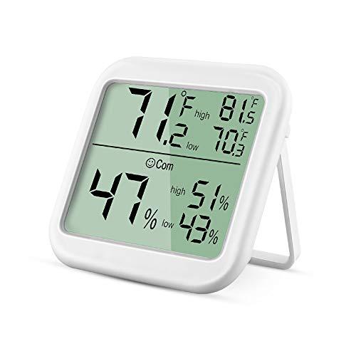 OUTAD Thermo-Hygrometer, Hochpräzises Digitales Thermometer, Hygrometer Innen, Temperatur und Luftfeuchtigkeitmessgerät Geeignet für Babyzimmer Wohnzimmer Büro usw. (Weiß)