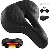 OUXI Bike Seat, Comfortable Wide Bicycle Saddle Waterproof Memory Foam Cushion Padded Mountain Bike Seat Comfy with Reflective Strip for MTB Road Bike Spinning Exercise Bike for Women Men
