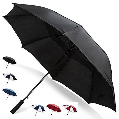 62 Inch Golf Umbrella (Black, 2-Pack) SPF Umbrella for Sun Golf Cart Umbrella Holder Sun Shade Umbrella Giant Umbrella Men Umbrella