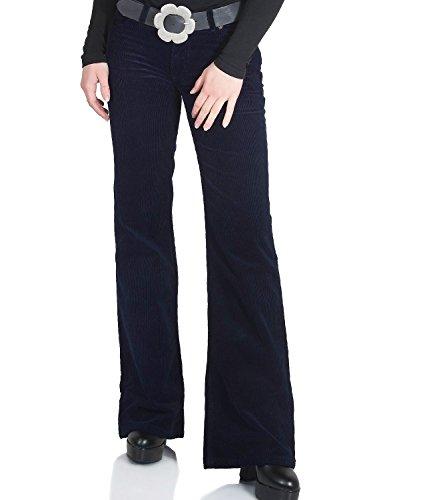 Damskie spodnie sztruksowe z wzorem Bootcut ciemnoniebieskie