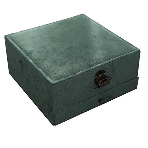 Caja de joyería con Cerradura Caja de joyería de Gran Capacidad de Tres Capas, Reloj Anillo Collar Caja de Almacenamiento Día de San Valentín