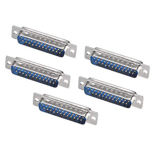 Sourcing Map D-Sub-Stecker, 25-polig, 2-reihig, Löt-Typ für mechanische Geräte, CNC-Computer, Blau, 5 Stück