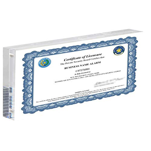CY craft Acrylic Business License Frame for 4x9 Business License Certificate Desk/Table Top Display,Clear Panoramic Photograph Picture Frame( Full Frame 4x10 Inch),Pack of 1
