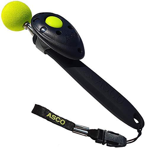 ASCO ClickStick®, Target Stick mit abnehmbarem Premium Clicker, Teleskop-Target für Hunde Katzen Pferde Klicker-Training, schwarz AC01TCS