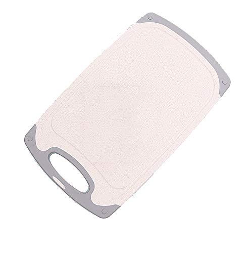 Tabla de Cortar de plástico, Tabla de Cortar de Color, lavavajillas Caja Fuerte y fácil de Limpiar, Deflector de Seguridad de Horno con Canal y Mango de Jugo,Beige,40CM