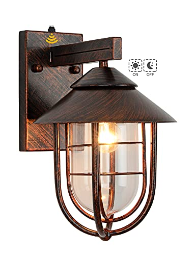VOCLDFA Dusk to Dawn Sensor Outdoor Wall Lantern Nautical Style Outdoor Lighting fixtures Wall Mount Waterproof Outdoor Wall Sconce Retro Oil Rubbed Bronze Finish Outside Wall Lamp for Porch Yard