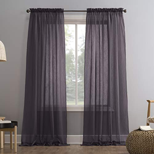 """No. 918 Erica Crushed Texture Sheer Voile Rod Pocket Curtain Panel, 51"""" x 84"""", Fig Purple"""