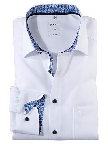 OLYMP Herren Oberhemd Langarm Luxor,Uni,Comfort fit,New Kent,Weiß 00,48