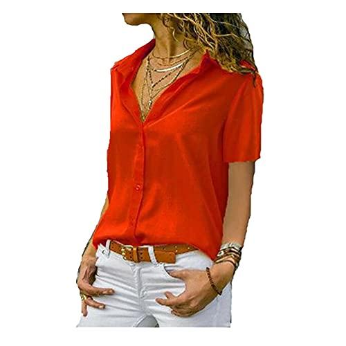 N\P Solid Color Short Sleeve Lapel Women's Shirt Women's Short Sleeve top Women's Casual Shirt Red