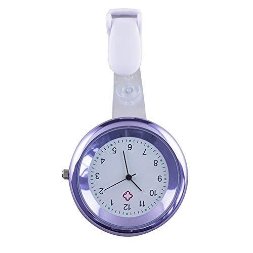 happyhouse009 Taschenuhr für Krankenschwester, Arzt, runde Ziffern, analog, Quarz, zum Anstecken, Metalllegierung und Silikon, Purple